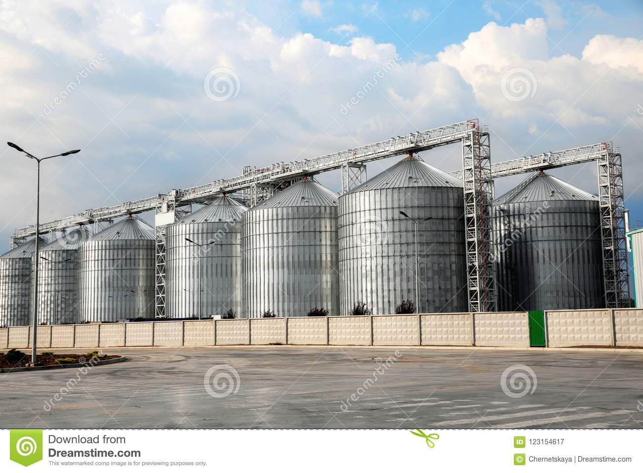 Row of modern granaries for storing grains