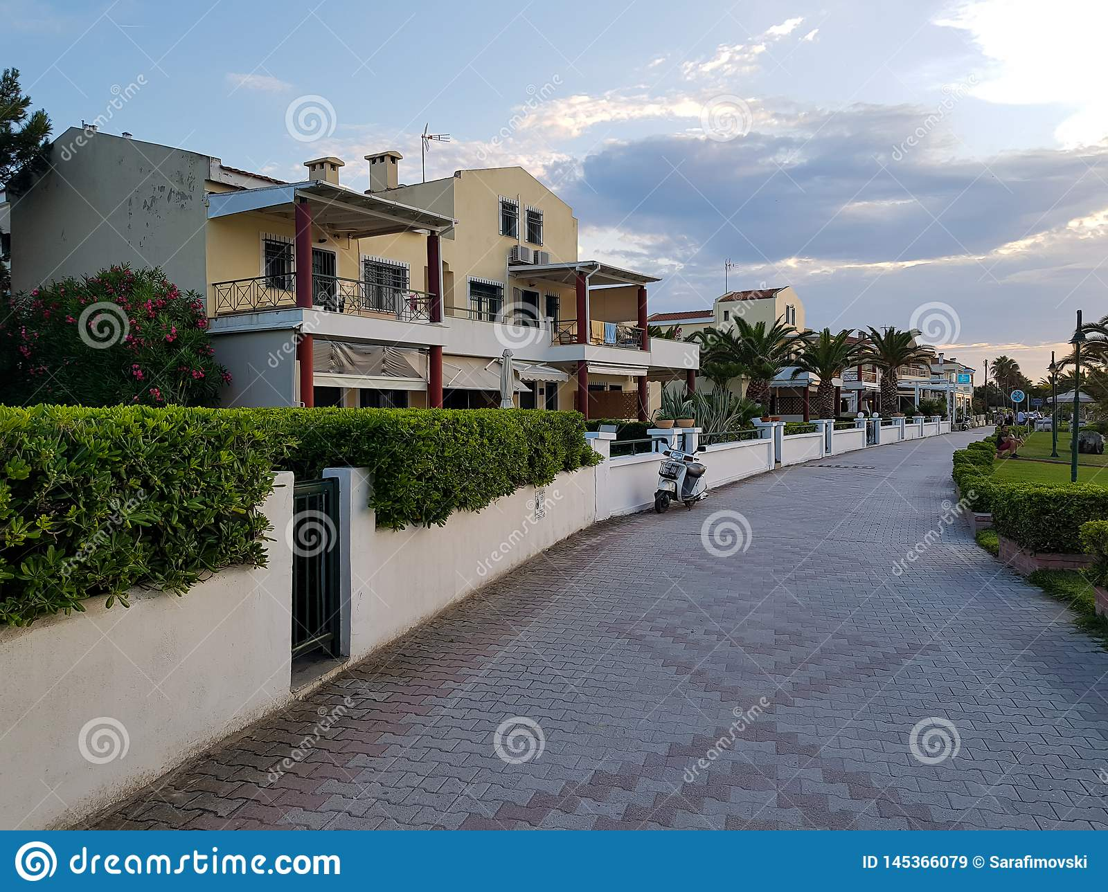 Row of modern houses with hedge fence and beautiful stone road.