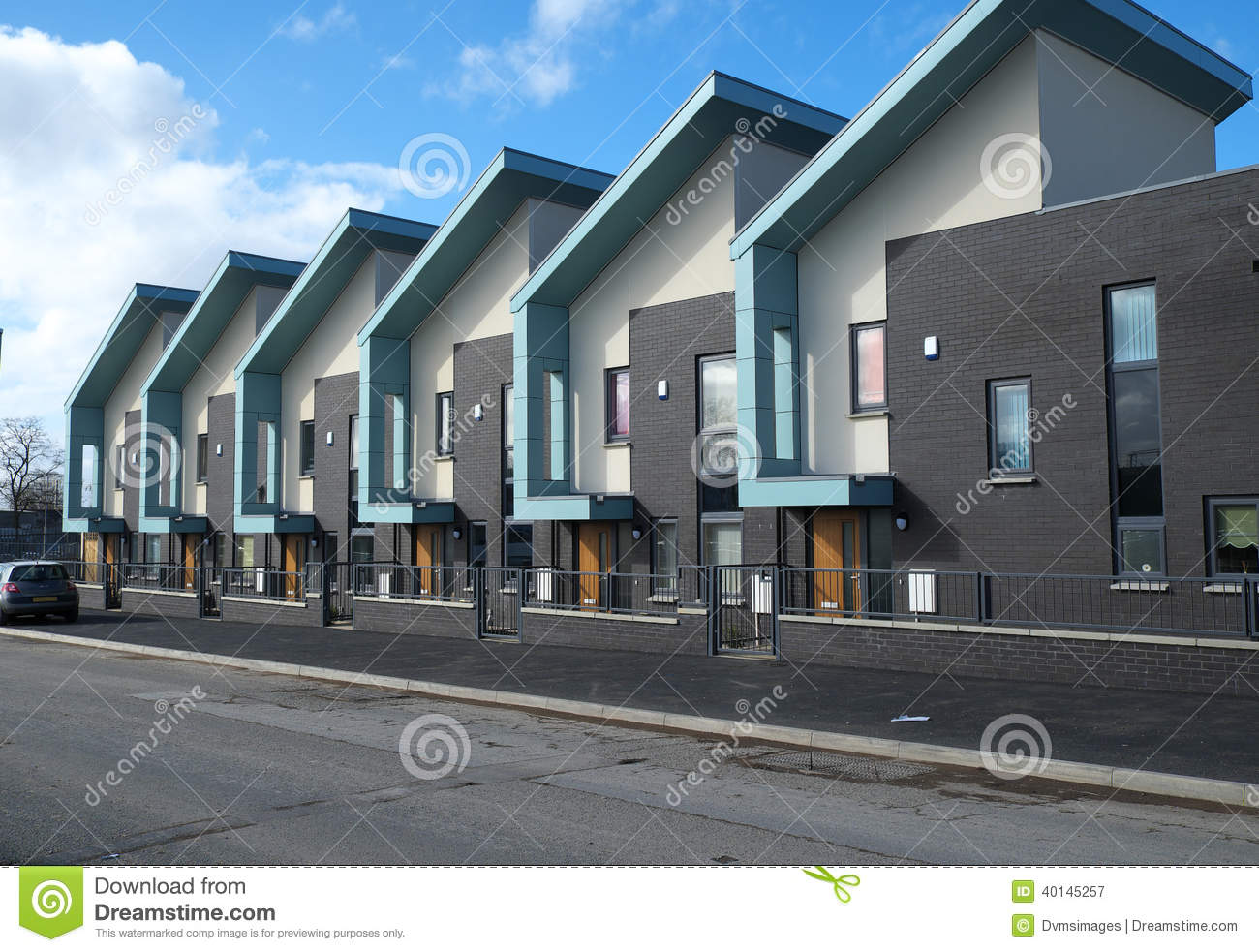 Row of modern houses in West Gorton, Manchester, England.