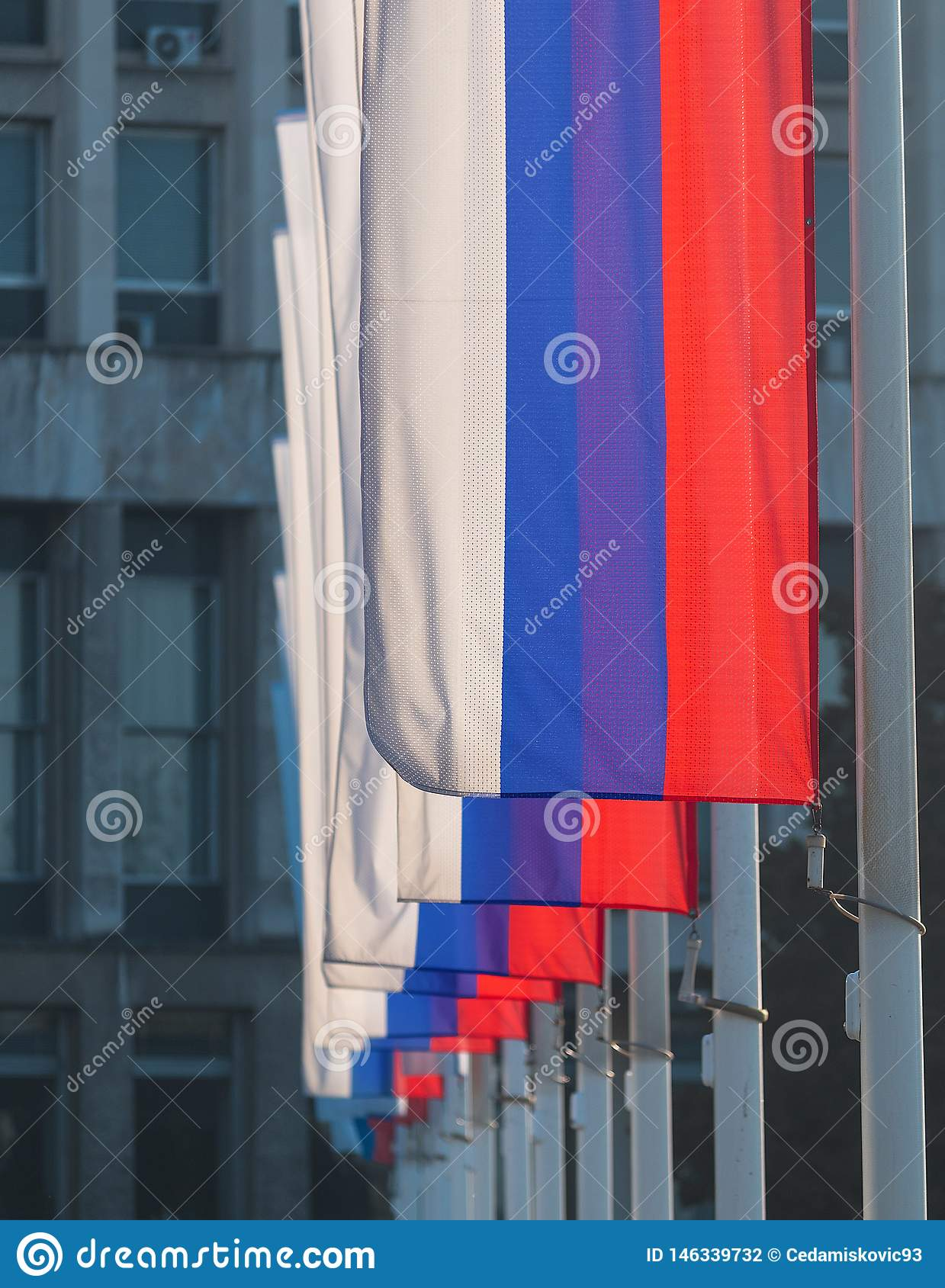 Series of national three colored Serbian flags