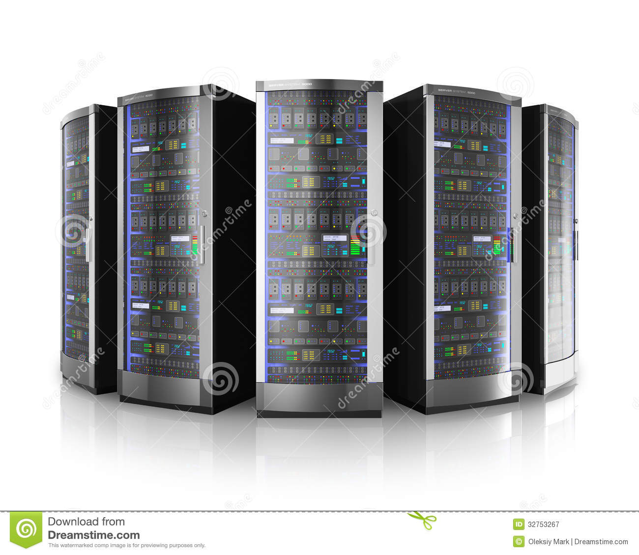 Row Of Network Servers In Data Center Royalty Free Stock