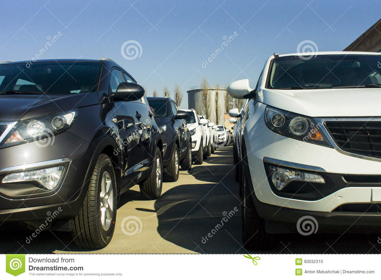 A Row Of New Cars Parked At A Car Dealer Shop Stock Photo Image