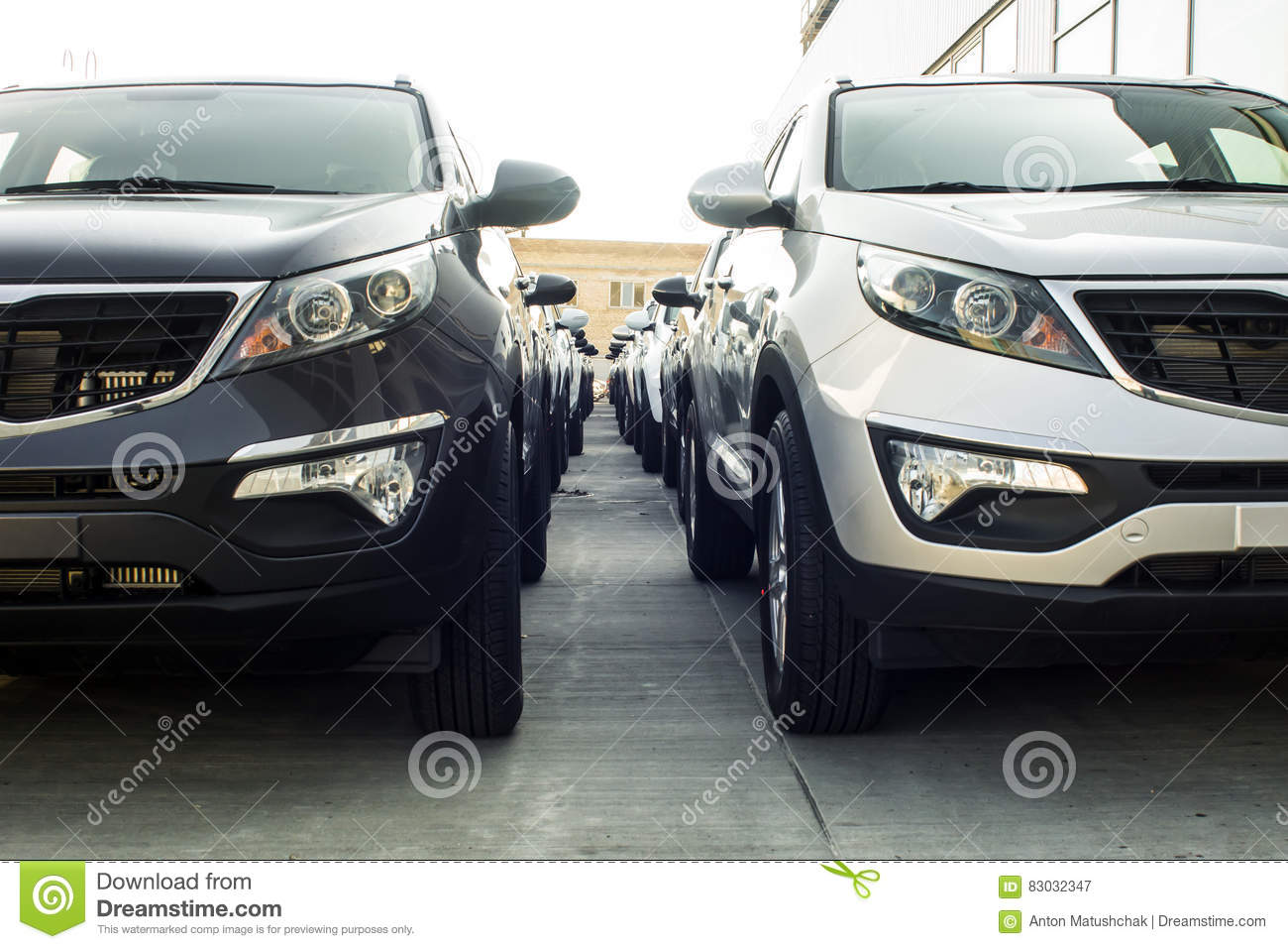 A Row Of New Cars Parked At A Car Dealer Shop Stock Image Image