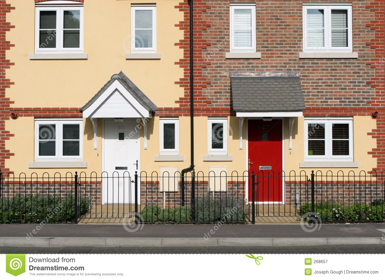 Row of new terraced houses royalty free stock photography for New terrace house