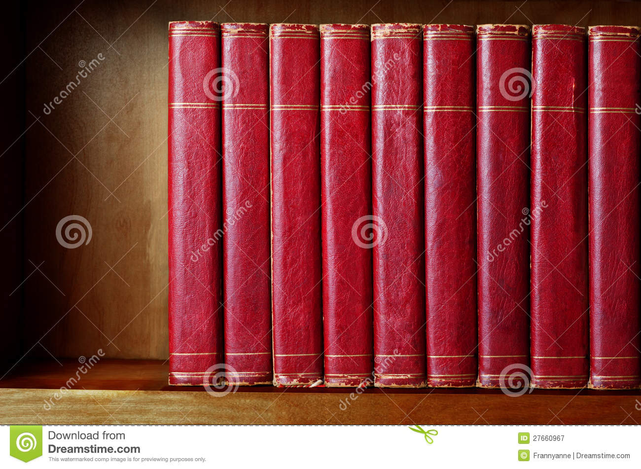 Royalty free stock photography row of old books on shelf