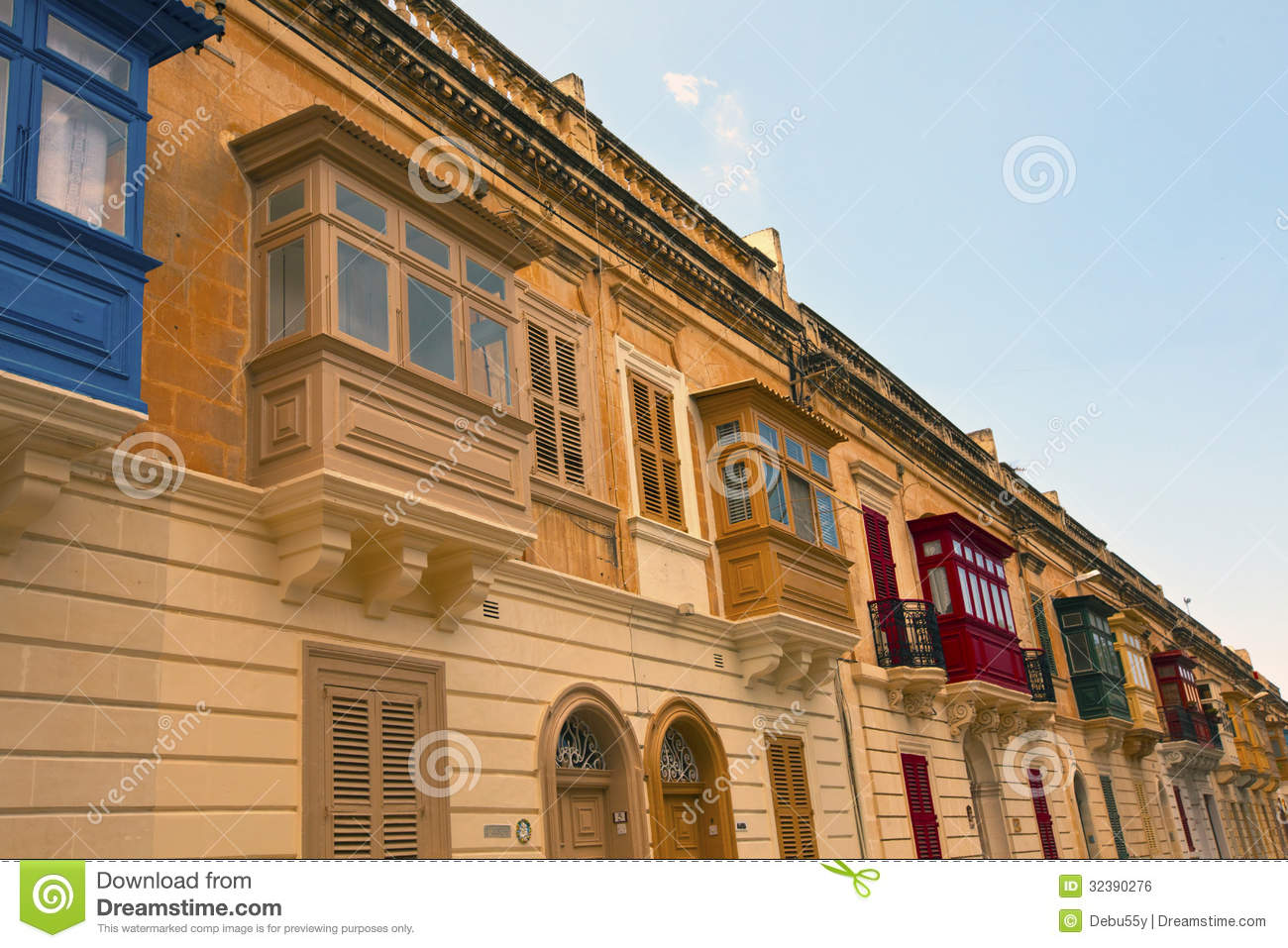 Row Of Old Houses In Rabat Malta Royalty Free Stock Image Image 32390276
