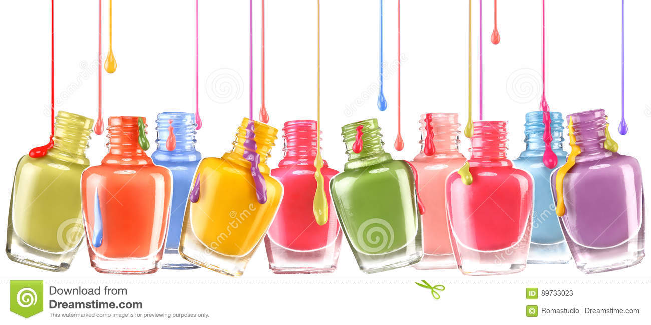 Row of open bottles of nail polish and a jets of dripping lacquer on white background.