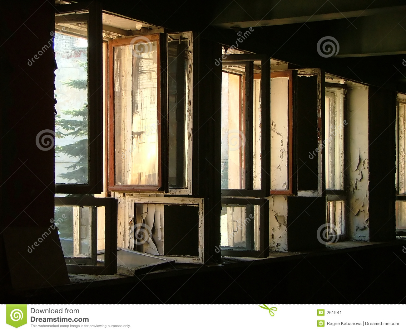 row of open windows stock image