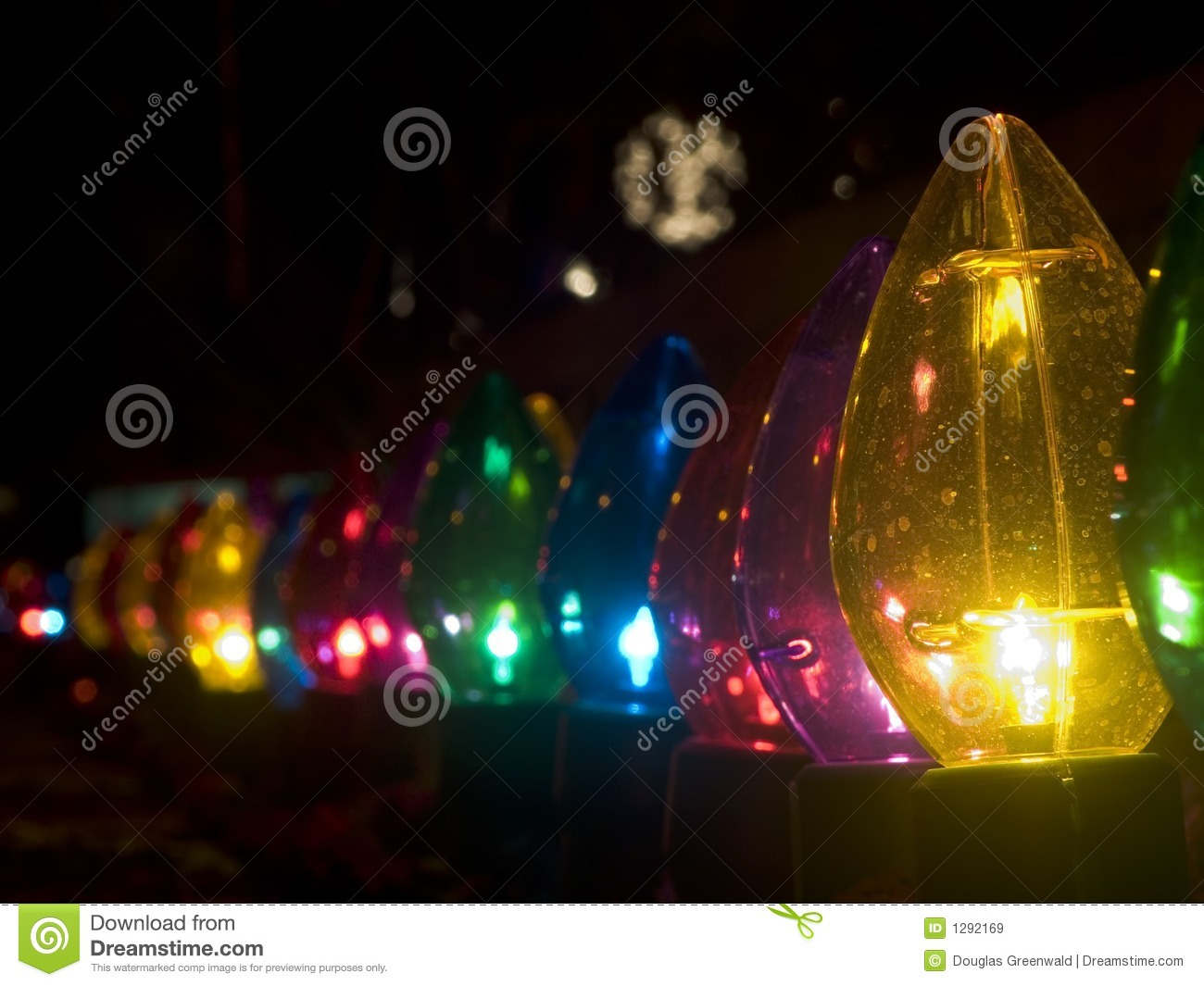 Row of outdoor large christmas lights stock image image for Large outdoor christmas displays