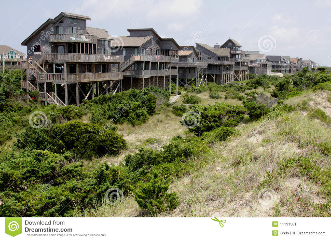 Row outer banks beach houses stock image image 11191561 for Beach house plans outer banks
