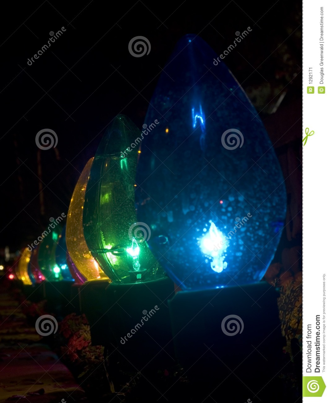 Row Of Oversized Outdoor Christmas Lights Stock Image Image Of