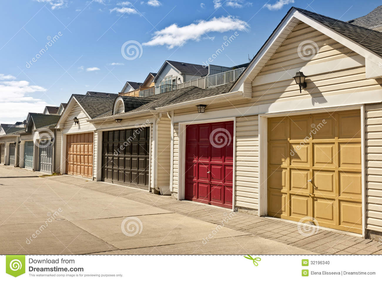 957 #2A62A1 Row Of Parking Garages Stock Photo Image: 32196340 wallpaper Garage Doors In My Area 37451300