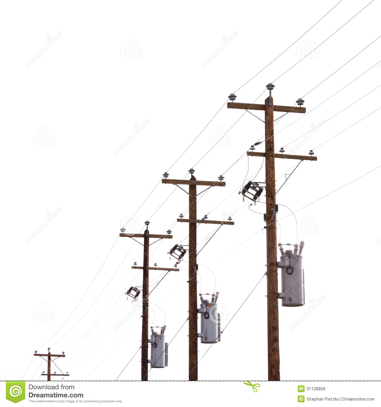 Row of power pole transformers