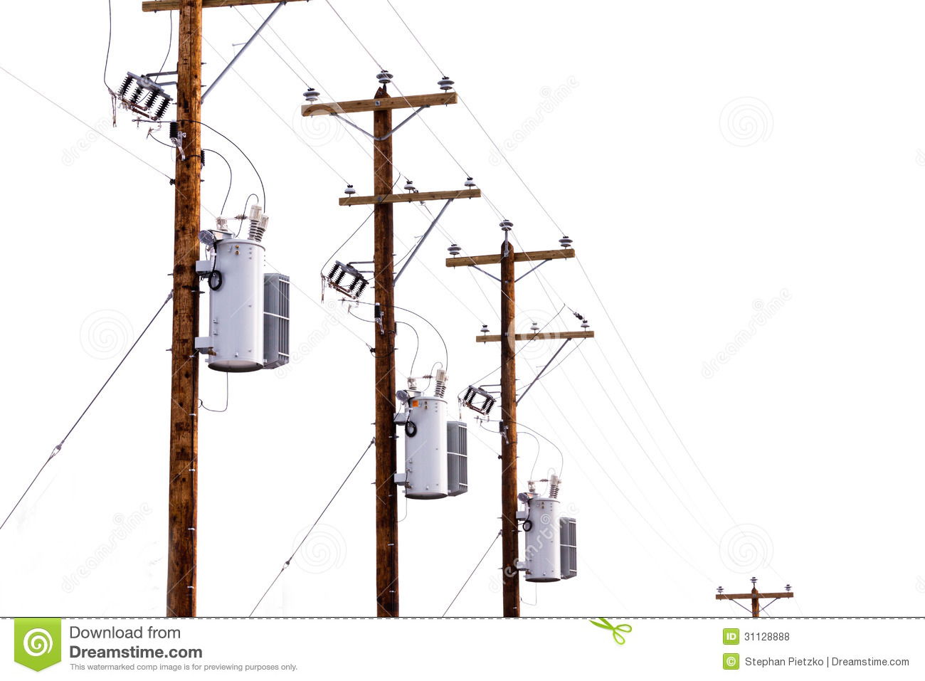 Types Of Electrical Poles : Row of power pole transformers isolated on white stock