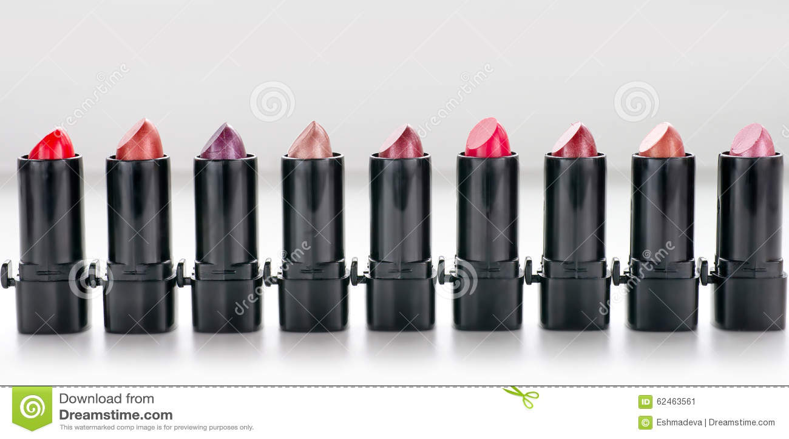 Row of red lipsticks