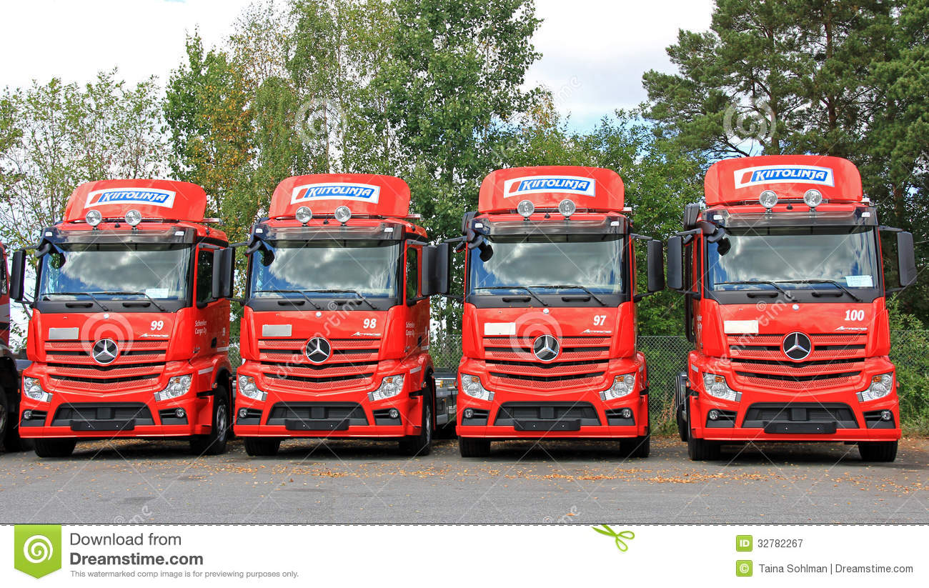 Row of red mercedes benz actros trucks editorial for Used mercedes benz truck