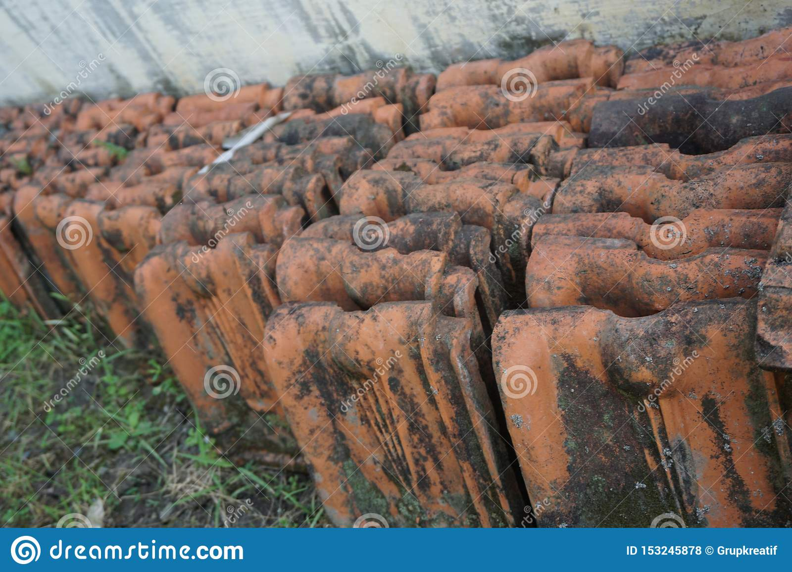 Vintage Red Clay Roof Tile stock photo. Image of ...