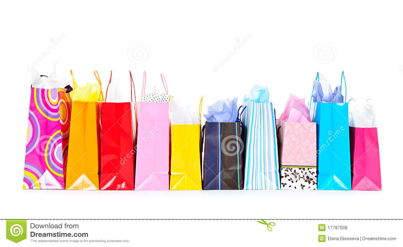 Row Of Shopping Bags Stock Photo Image Of Colorful Paper 17787008