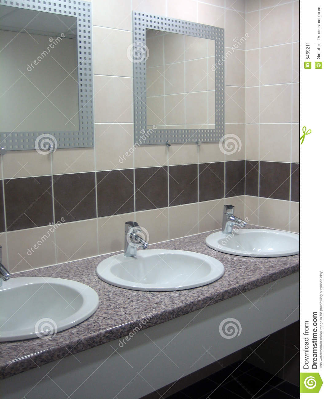 Sinks and mirrors in public restrooms stock photo for Public bathroom sink