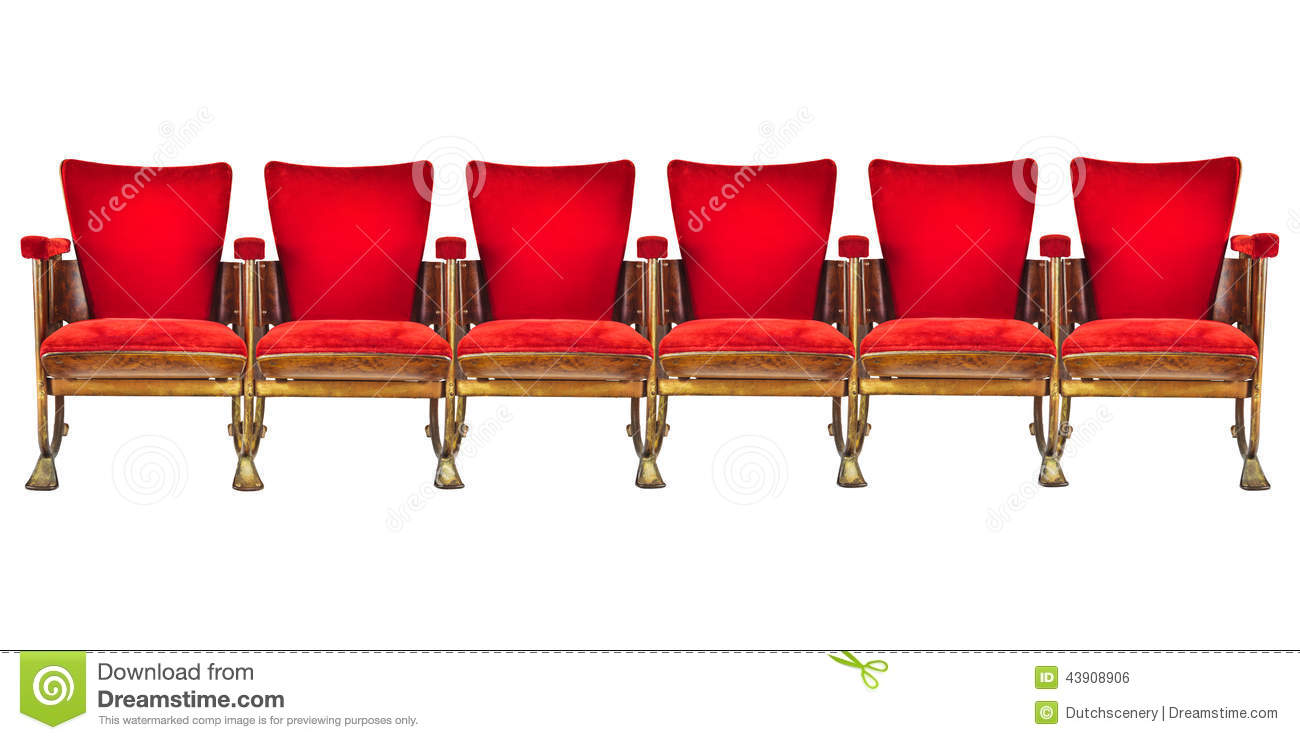 Row Of Six Vintage Cinema Chairs Isolated On White Stock ...