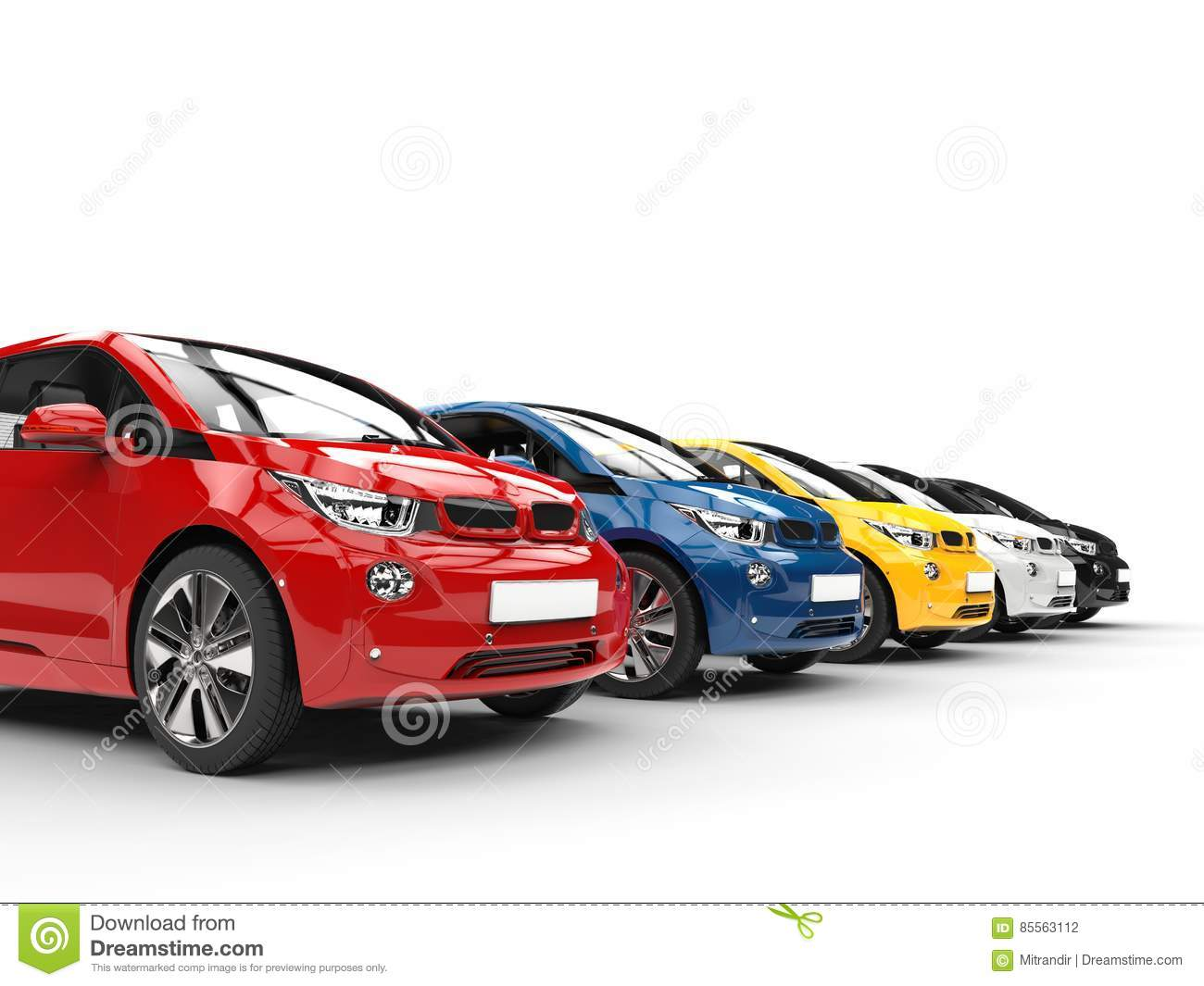 Row Of Small Electric Cars Various Colors Stock Illustration