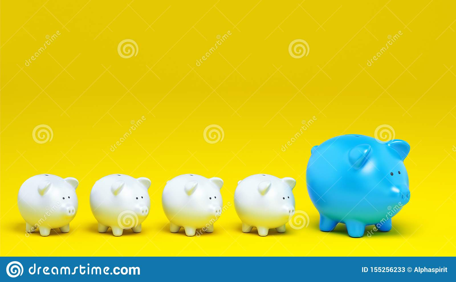 Economic concept of increased savings with a row of piggy banks on yellow background. 3D Rendering