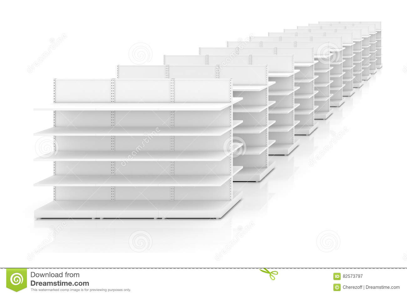Download Row of supermarket shelves stock image. Image of shelving - 82573797