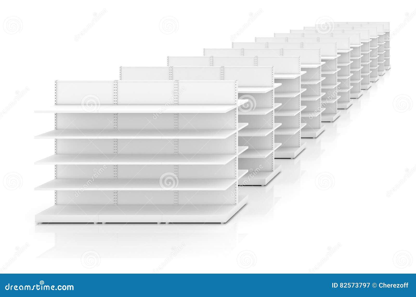 Row of supermarket shelves