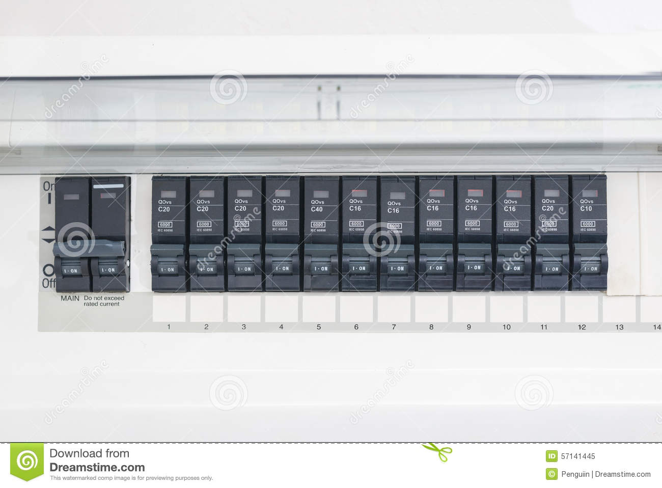 A Row Of Switched Off Household Electrical Circuit Breakers On Panel Download Wall Stock Image