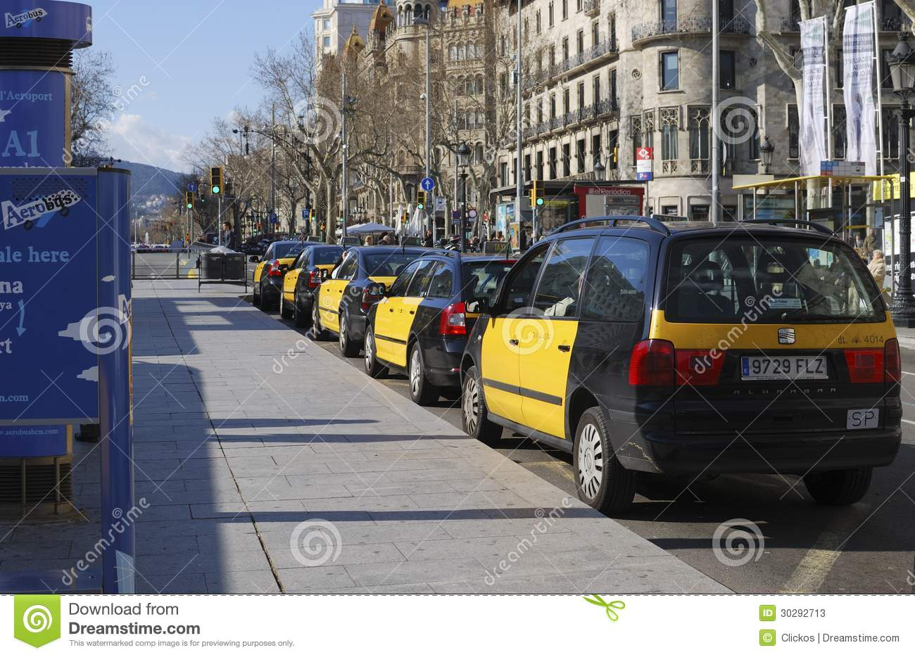 Taxi stand in barcelona spain editorial stock photo image 30292713 - Cab in barcelona ...