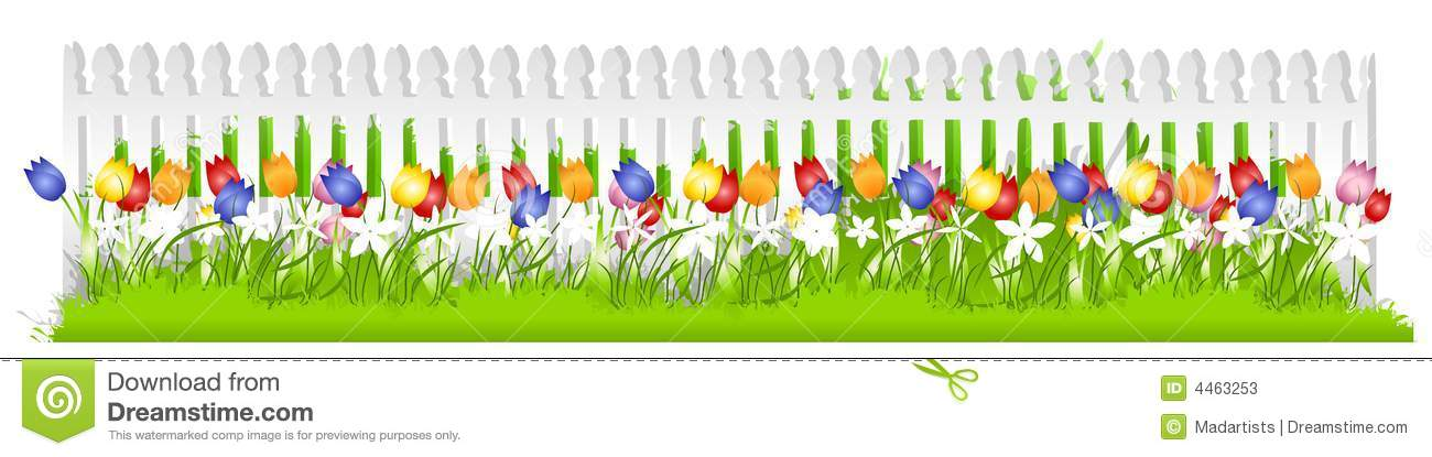 Royalty Free Stock Photo. Download Row Tulips White Picket Fence ...