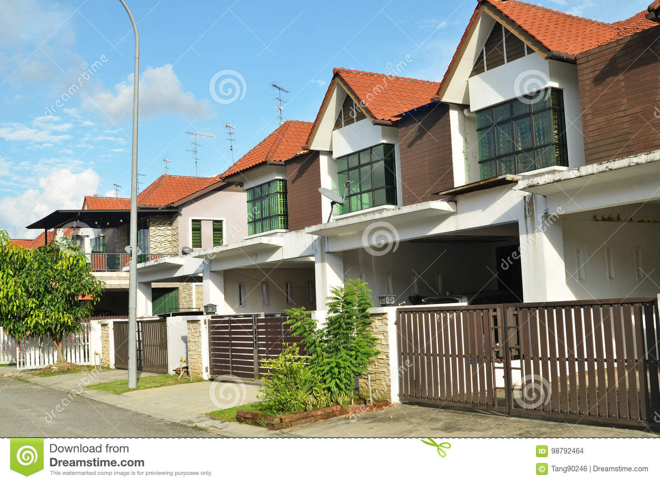 Row Of Two Storey Newly Built Terrace House Editorial Stock Image