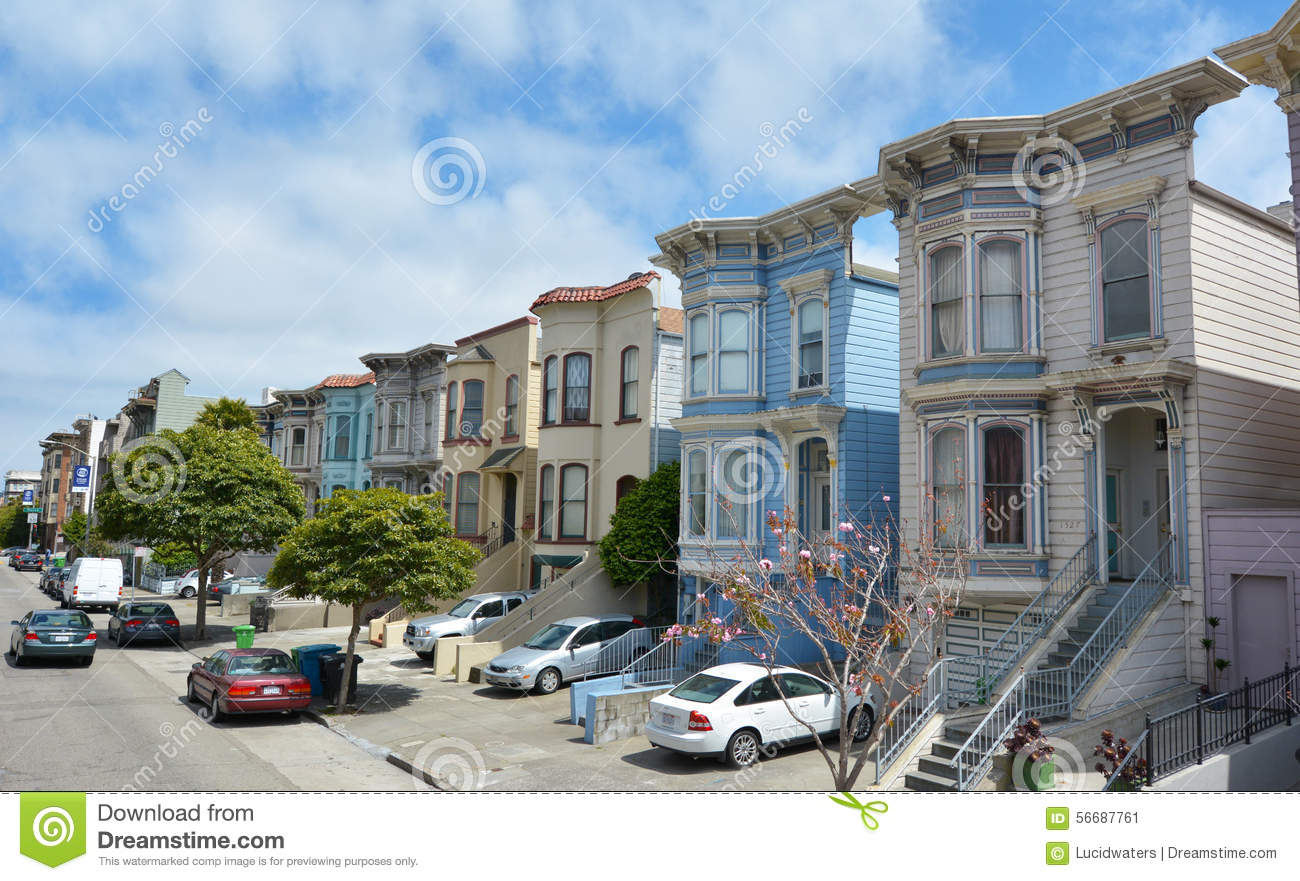 San Francisco May 20 2015row Of Victorian Italianate Houses In San Francisco California One Of The Great Charms Of San Francisco Is The Variety Of