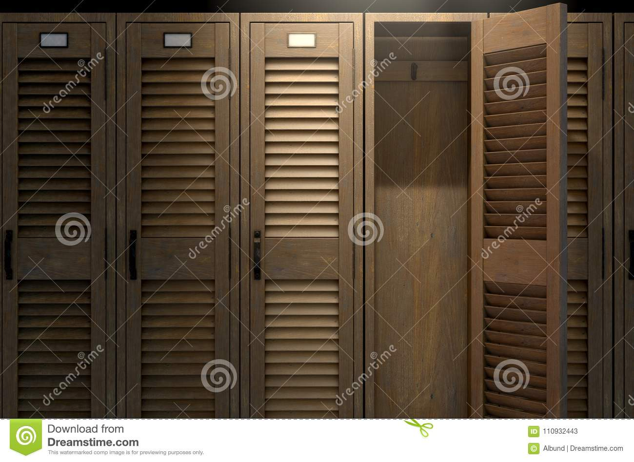 A Row Of Vintage Wooden Gym Lockers With One Open Door Revealing An Empty Interior