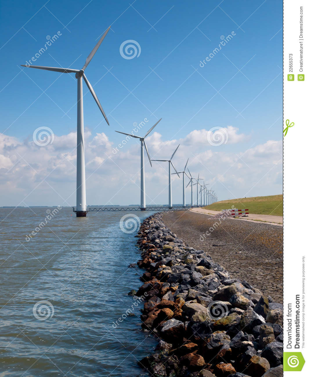 Row Of Wind Turbines Stock Photos Image 22655373