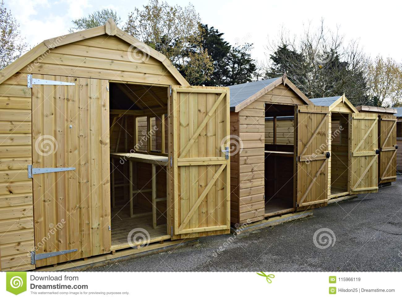 A Row Of Wooden Garden Sheds In Surrey UK Editorial Stock Image