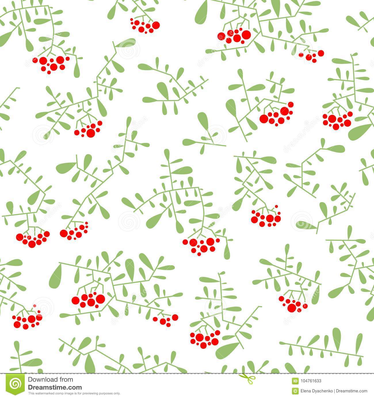 Rowan berry seamless pattern in flat simple style. Doodle floral