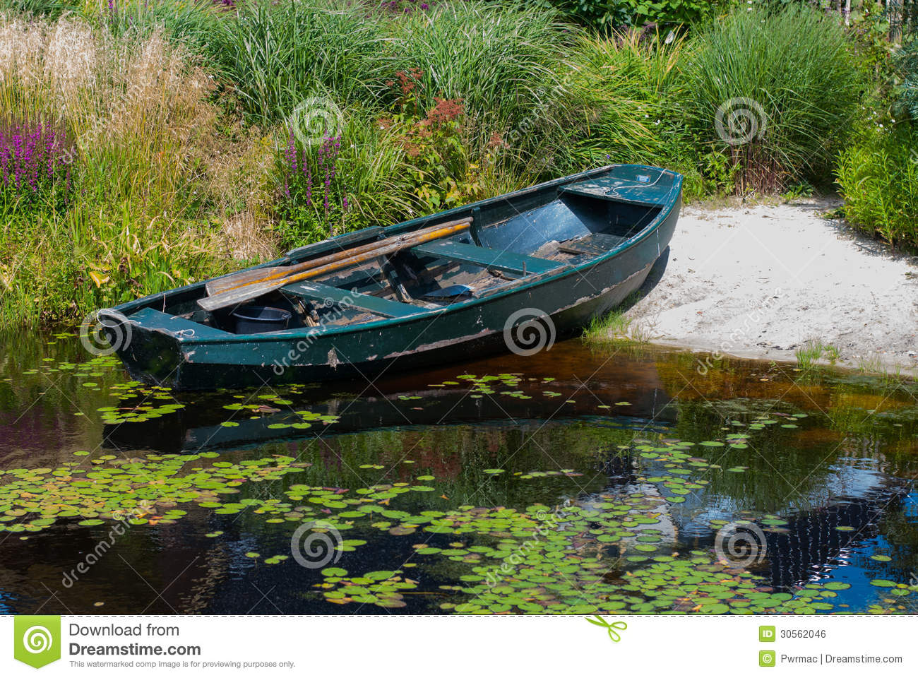 Rowboat in a garden pond royalty free stock image image for Garden pond unlimited