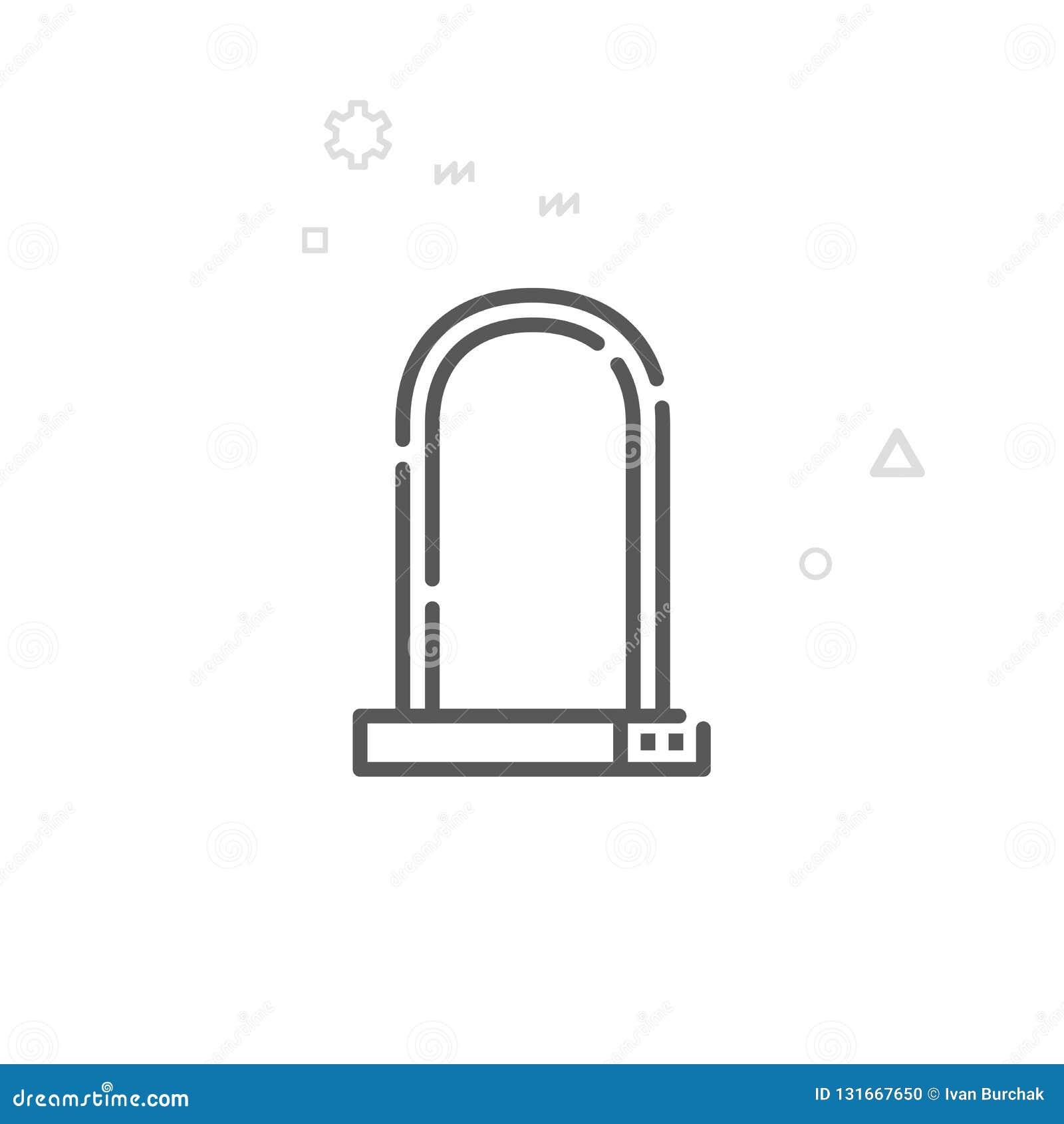 Rower lub Rowerowa kędziorka wektoru linii ikona, symbol, piktogram, znak Lekki abstrakcjonistyczny geometryczny tło Editable ude