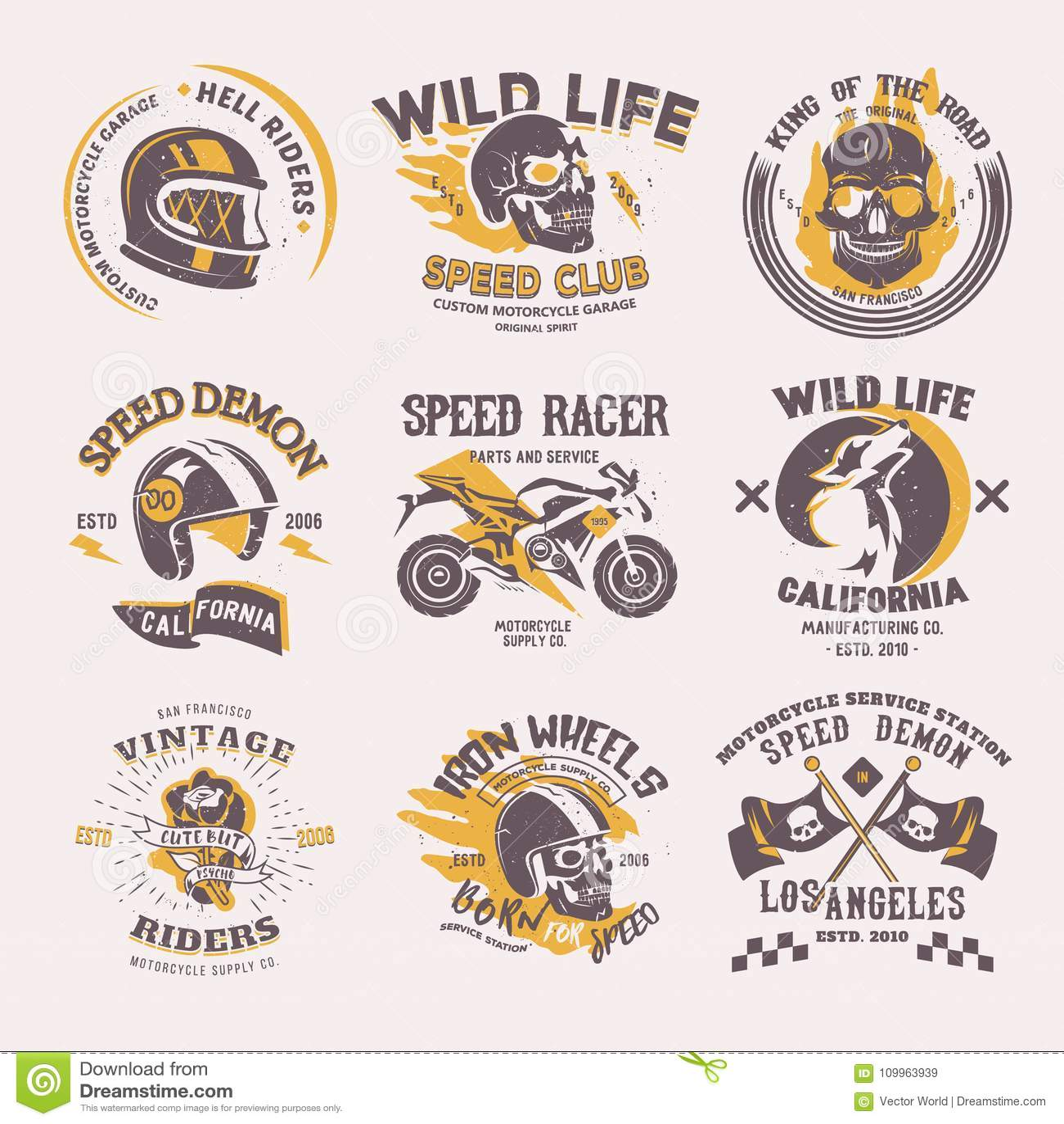 Rowerzysty loga wektorowy jeździec na motocyklu, roweru lub prędkość motocyklisty setkarzie na logotypie jedzie emblemat ilustrac