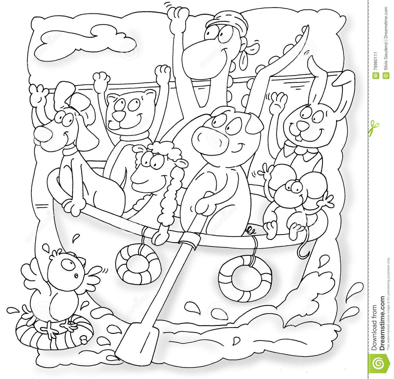 Download Rowing Boat With Animals Pig, Mouse, Bird Upwards Lifesaver Goat And Dog Stock Illustration - Illustration of rowing, mouse: 78980111