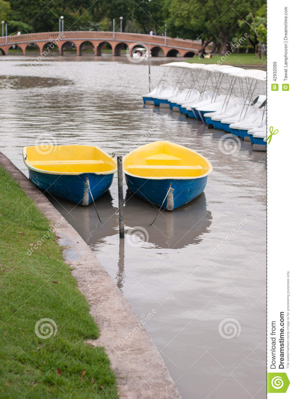 Rowing Boat At Mooring Stock Photo