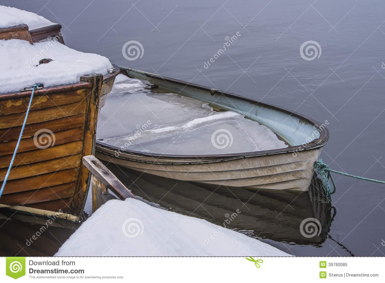 Rowing Boat Full Of Water And Ice Stock Illustration - Image: 39760085
