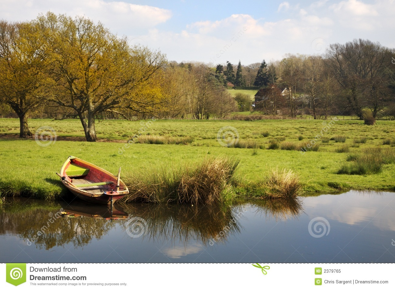 Rowing Boat On River Bank Royalty Free Stock Photo - Image: 2379765