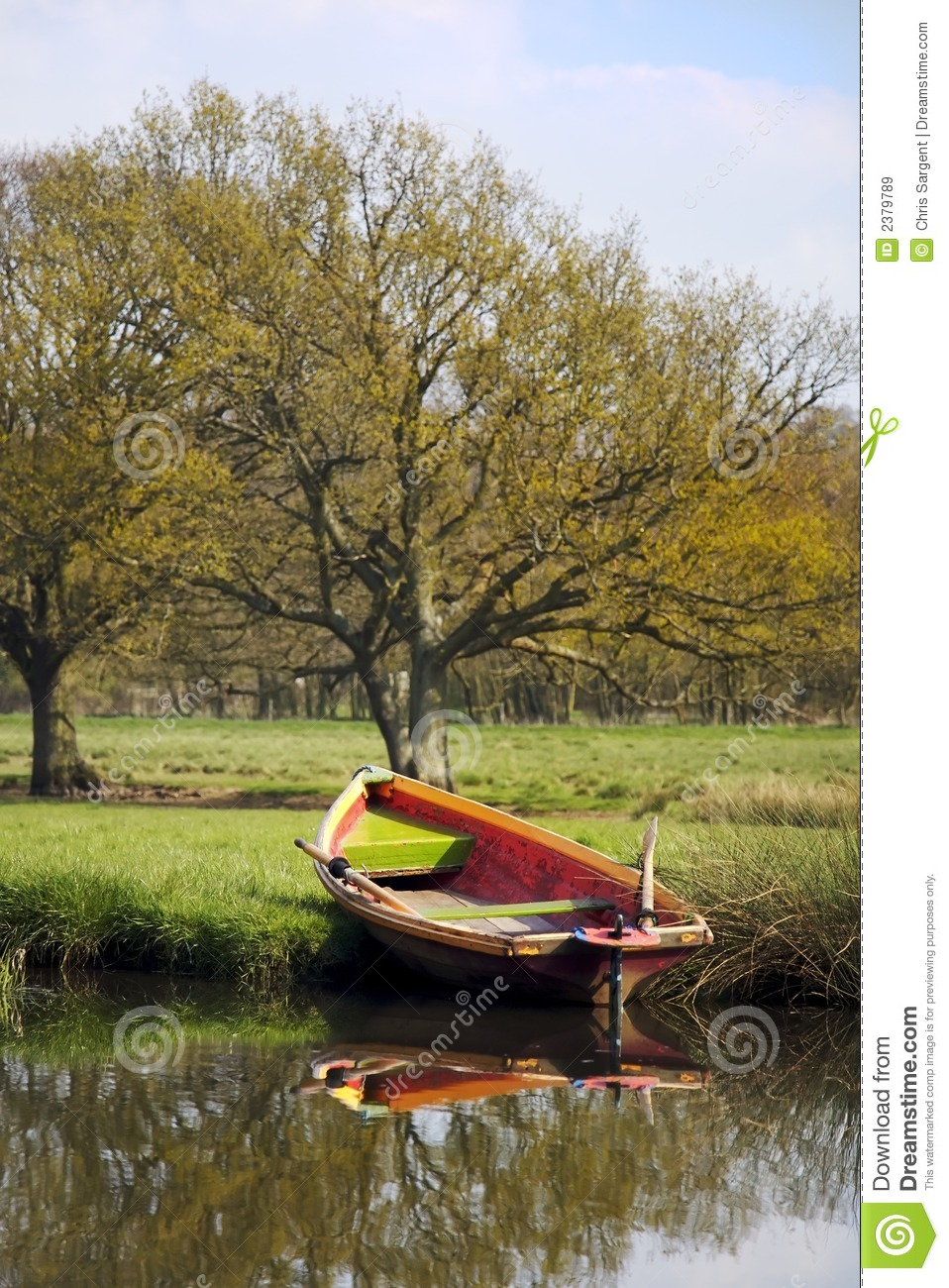 Rowing Boat On River Bank Royalty Free Stock Images - Image: 2379789