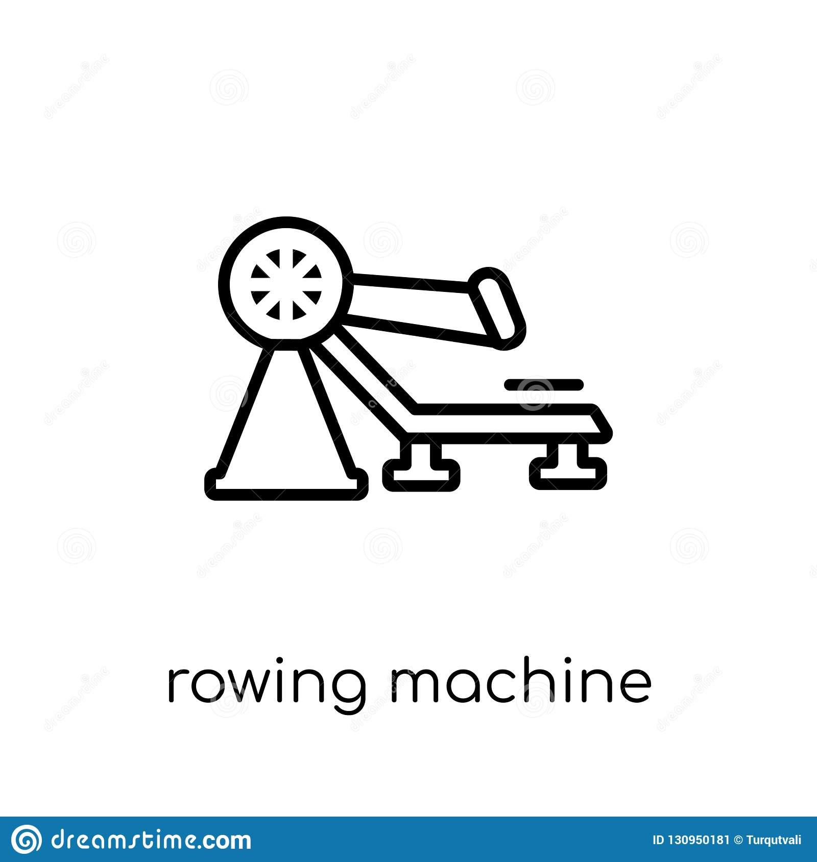 Rowing Machine Icon  Trendy Modern Flat Linear Vector Rowing