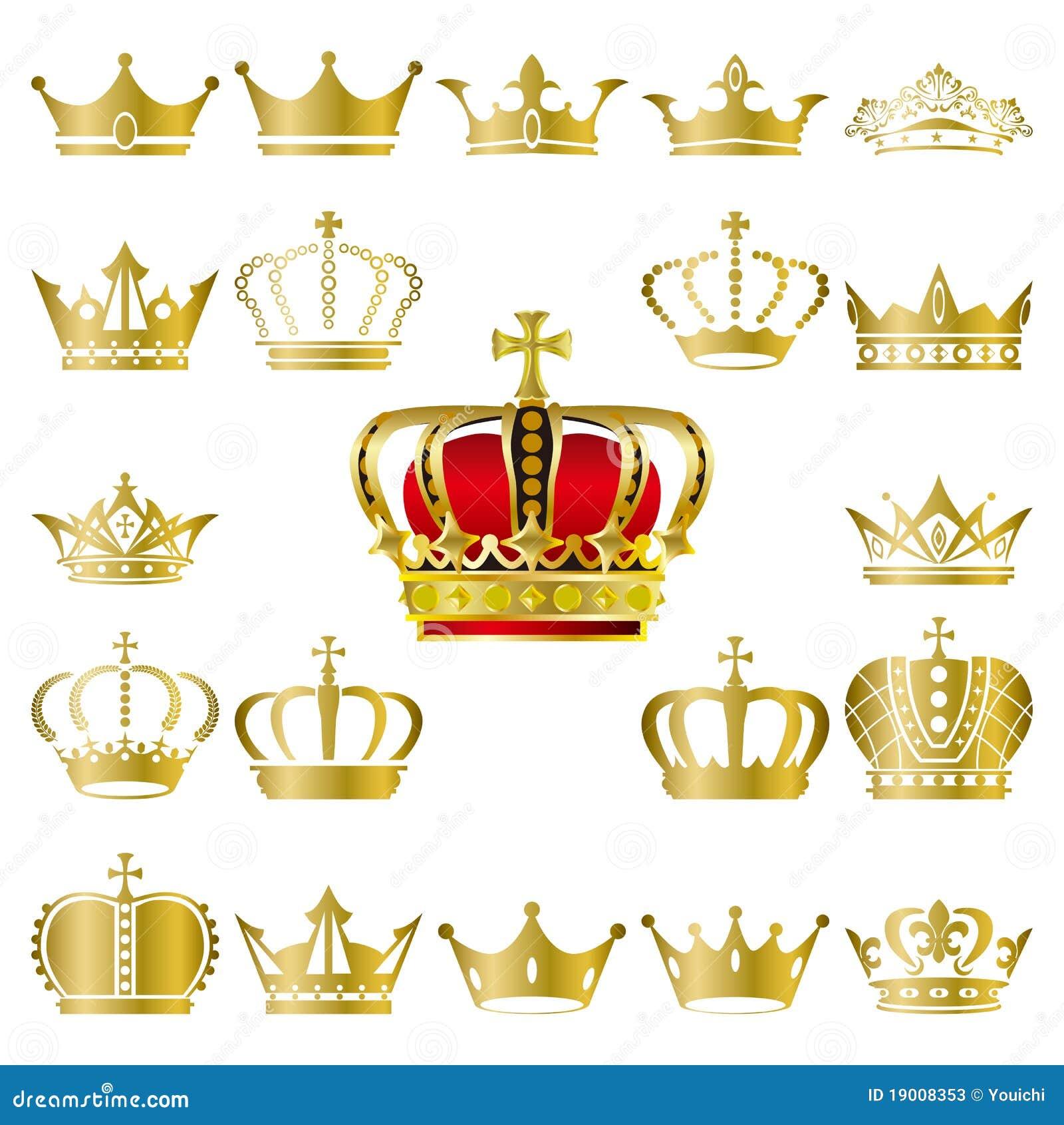 Rown e iconos de la tiara fijados