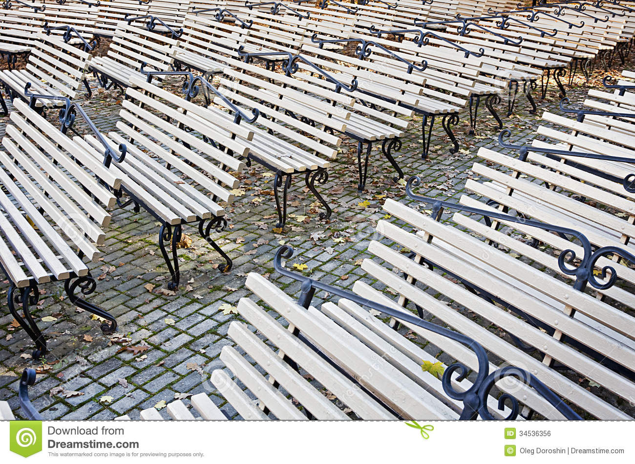 Rows of benches in the autumn park