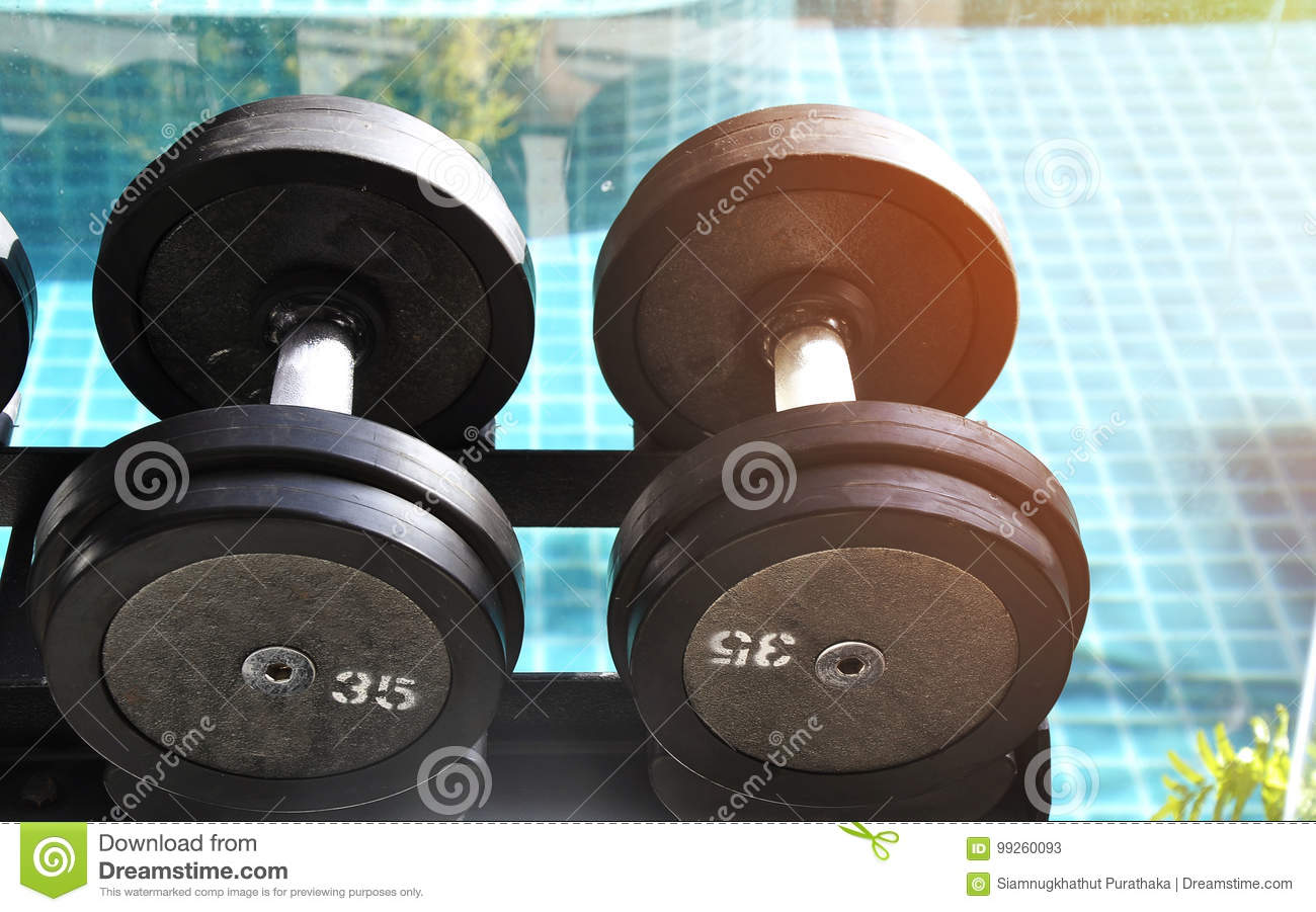 Rows of dumbbells in the gym stock image image of rusty body