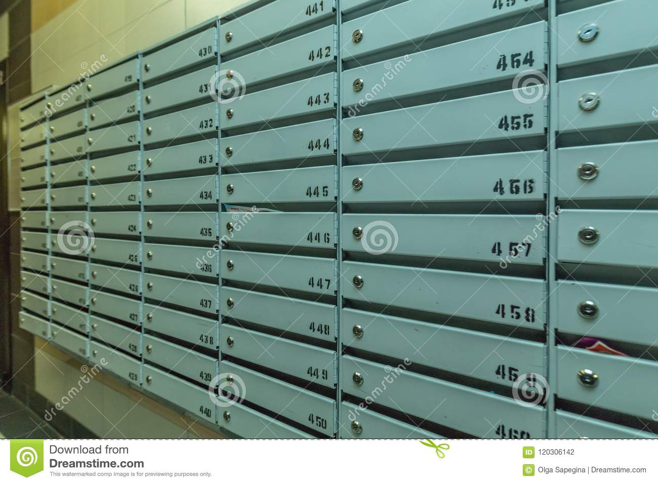 Rows of metal mailboxes